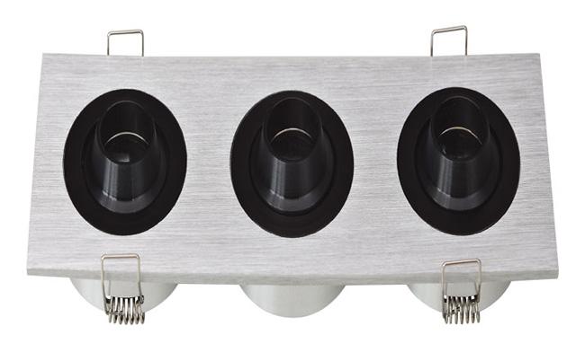 LED G03系列三头(带猪嘴)开孔151x50mm格栅射灯