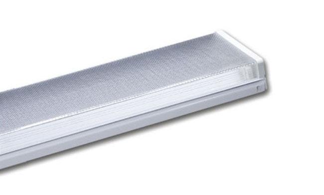 T8灯管支架 2x20W 电感/电子 扁方型棱晶罩支架/双支630x175x65mm