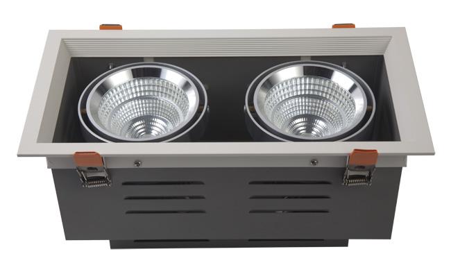 LED豆胆灯 24W 开孔300x140mm LED双头格栅射灯