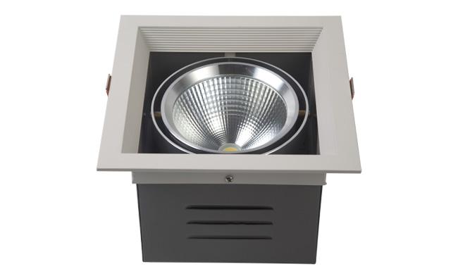 LED豆胆灯 20W 开孔尺寸165x165mm LED单头格栅射灯