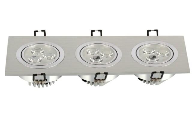 LED 9W 开孔276x83mm射灯 灯珠贴片LED 三头格栅射灯