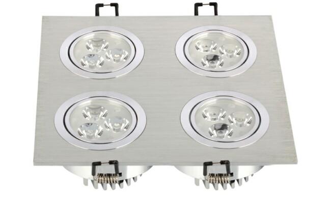 LED 12W 开孔178x178mm射灯 灯珠贴片LED 四头格栅射灯
