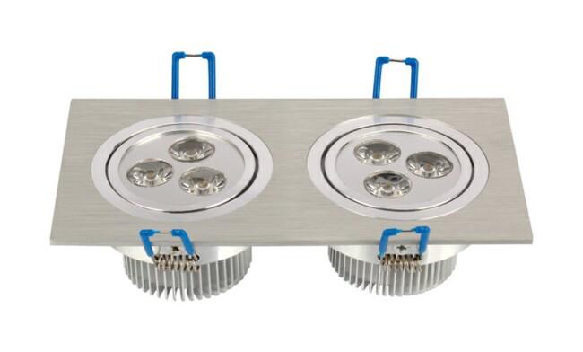 LED 6W 开孔158x74mm射灯 单颗透镜LED 双头格栅射灯