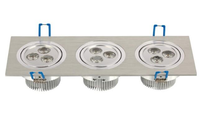 LED 9W 开孔251x74mm射灯 单颗透镜LED 三头格栅射灯