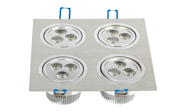 LED 12W 开孔157x157mm射灯 单颗透镜LED 四头格栅射灯