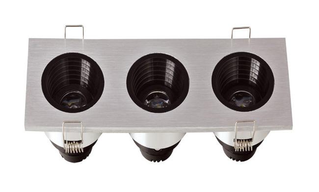 LED G04系列三头(防眩光)开孔151x50mm格栅射灯