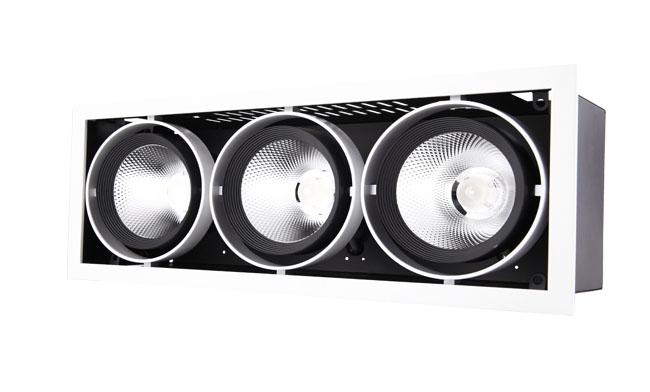G12系列45W 三头COB格栅射灯 开孔尺寸390x140mm