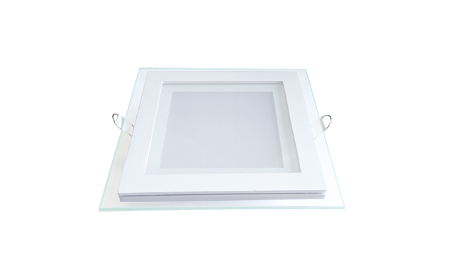玻璃LED面板灯 12W 方形 开孔125mm 白光中性光黄光