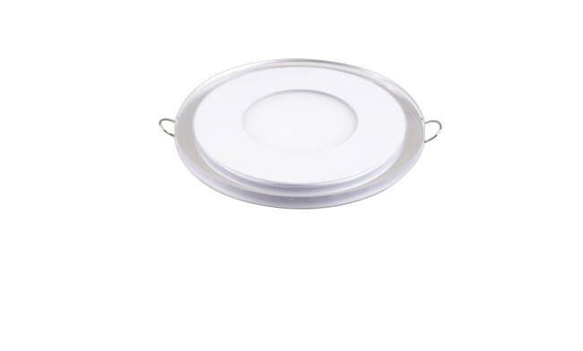 LED面板灯 6W圆形超薄双色面板灯 开孔Φ90mm 白光蓝边 可分段控制光色
