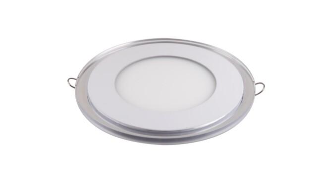 LED面板灯 12W圆形超薄双色圆形面板灯 开孔Φ115mm 白光蓝边 可分段控制光色