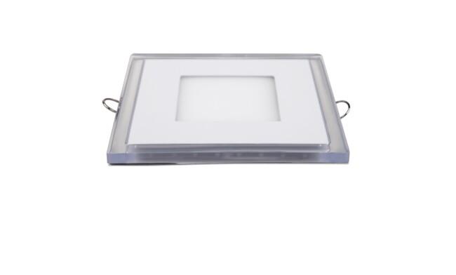 LED面板灯 6W超薄双色圆形面板灯 开孔90*90mm 白光蓝边 可分段控制光色