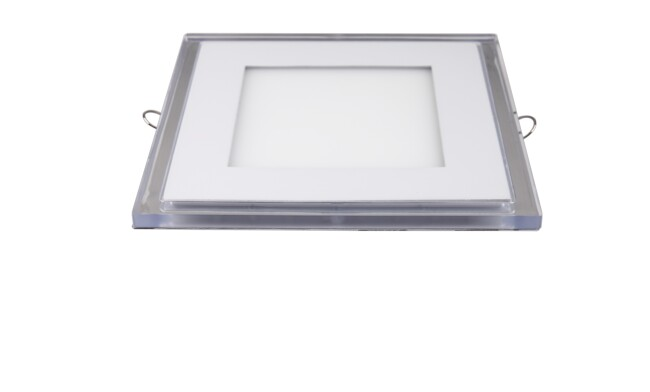 LED面板灯 12W超薄双色方形面板灯 开孔115x115mm 白光蓝边 可分段控制光色