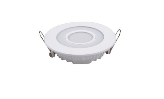 LED面板灯 7W圆形双色面板灯 开孔Φ98mm 白光蓝边 可分段控制光色
