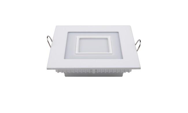 LED面板灯 7W方形双色面板灯 开孔98x98mm 白光蓝边 可分段控制光色