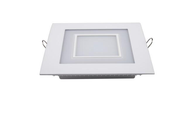 LED面板灯 12W方形双色面板灯 开孔138x138mm 白光蓝边 可分段控制光色