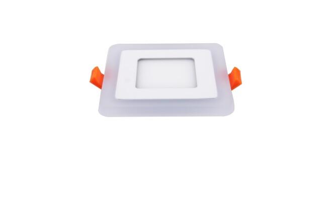 LED面板灯 5W侧发光方形双色面板灯 开孔70x70mm 可分段控制光色