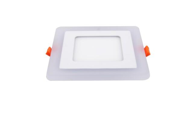 LED面板灯 9W侧发光方形双色面板灯 开孔105x105mm 可分段控制光色