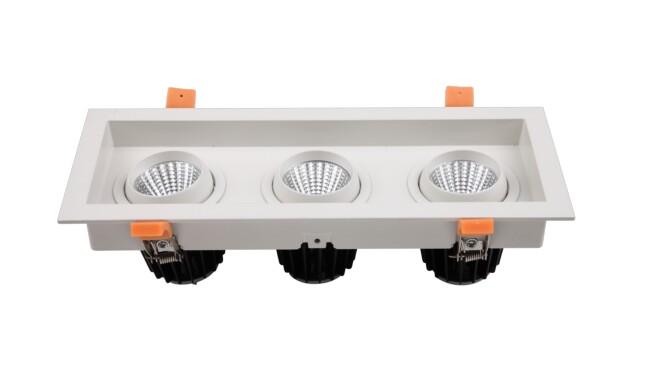 G13系列 3x9W 三头COB格栅射灯 开孔尺寸95x290mm